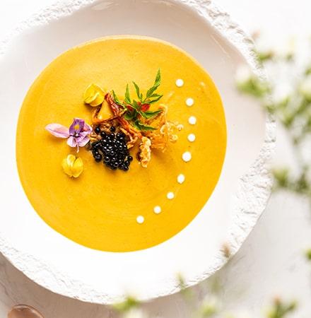 Creamy Pumpkin Soup with Petrossian Caviar